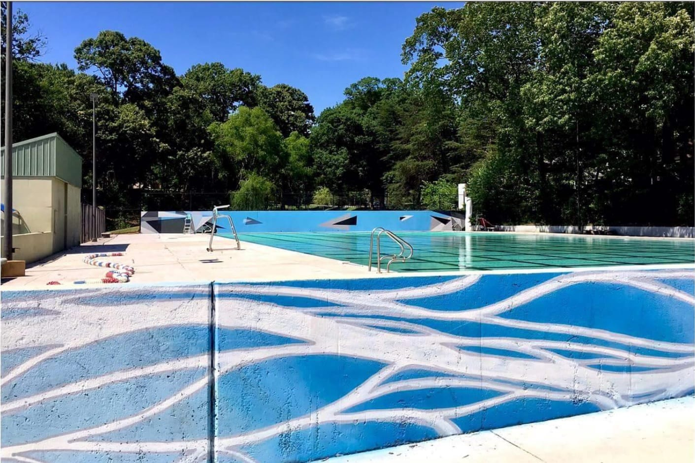 Public art at grant park pool gets a refresh the porch press for Community swimming pool grants